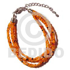 6 rows orange multi layered Glass Beads Bracelets