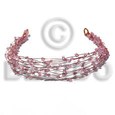 8 rows copper wire cuff Glass Beads Bracelets