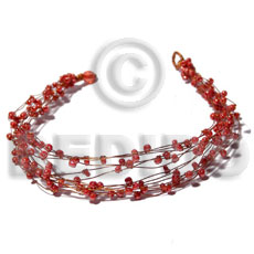 8 rows copper wire cuff bracelet  red glass beads - Glass Beads Bracelets