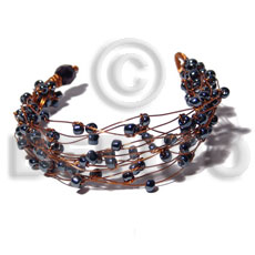 8 rows copper wire cuff bracelet  hematite beads - Glass Beads Bracelets
