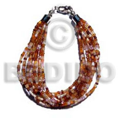 Twisted 12 rows orange brown cut glass Glass Beads Bracelets