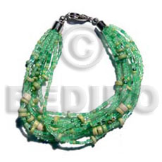 hand made Twisted 12 rows golden green Glass Beads Bracelets
