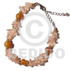 Clear stone crystals in brown Glass Beads Bracelets