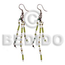 hand made Dangling looped cut beads Glass Beads Earrings