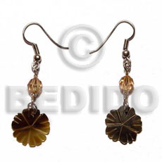 Dangling 20mm grooved blacktab flower Glass Beads Earrings