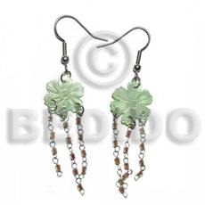 Dangling 15mm Grooved Pastel Green