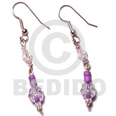 Dangling lavender 4-5 coco pokalet Glass Beads Earrings