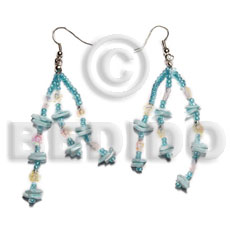 Dangling white rose multicolored Glass Beads Earrings