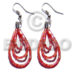 Dangling looped red cut beads Glass Beads Earrings