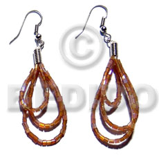 hand made Dangling looped brown cut beads Glass Beads Earrings
