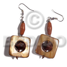 Dangling 25mmx25mm square laminated golden Glass Beads Earrings