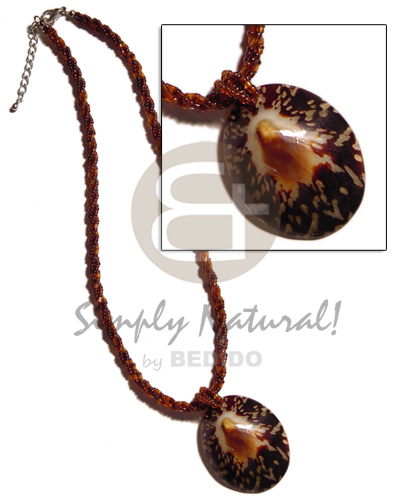 3 rows twisted brown Glass Beads Necklace