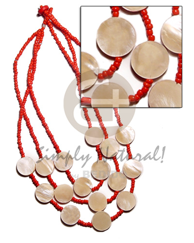 3 layer red glass beads Glass Beads Necklace
