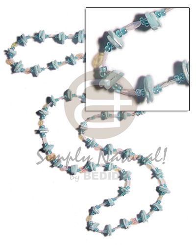 36 in. continuous powder blue Glass Beads Necklace