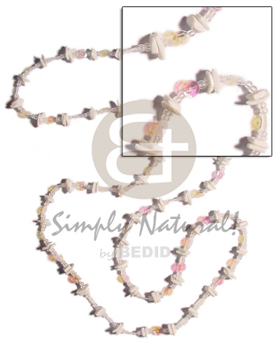 36 in. continuous white rose Glass Beads Necklace
