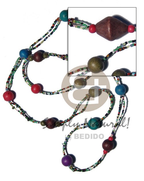 2 rows red cut glass Glass Beads Necklace