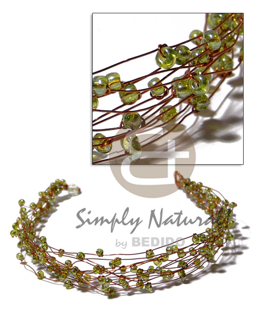 13 rows copper wire choker Glass Beads Necklace