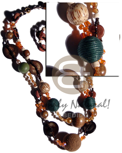 hand made 2 layers glass beads Glass Beads Necklace