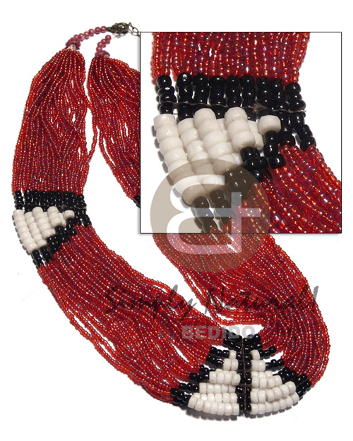 27 rows red glass beads Glass Beads Necklace
