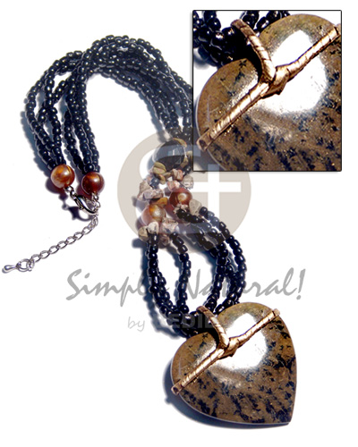 3 rows black glass beads  stone nuggets accent and 50mm heart marbled black stone  gold nito holder / 18in - Glass Beads Necklace