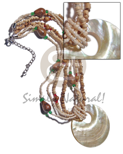 45mm round mop shell pendant Glass Beads Necklace