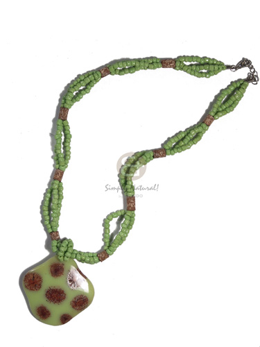 3 layers intertwined lime green glass beads  matching 50mm laminated seeds in resin pendant / 18in - Glass Beads Necklace