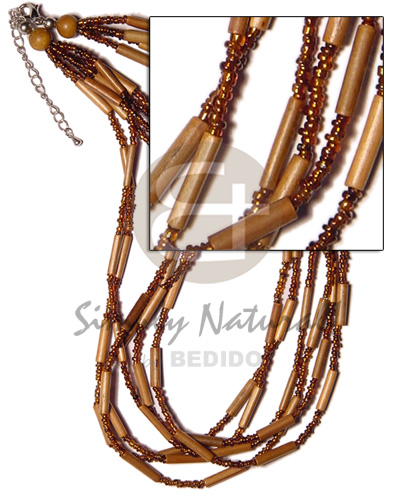 6 layer bamboo tube Glass Beads Necklace