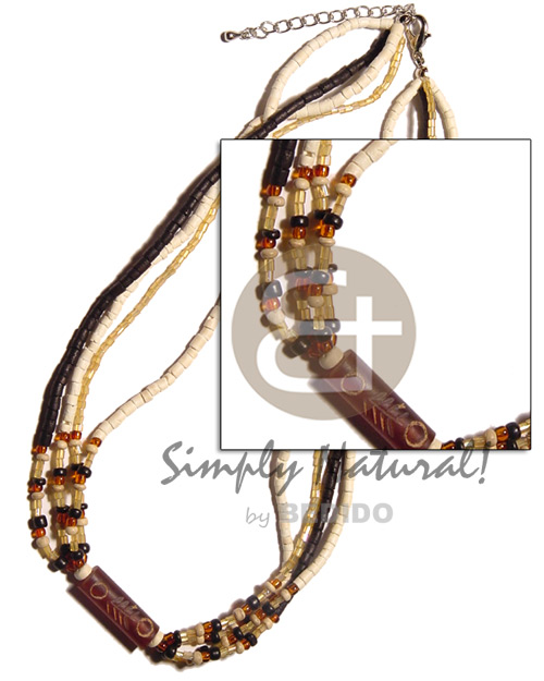 4 rows 2-3mm coco heishe Glass Beads Necklace