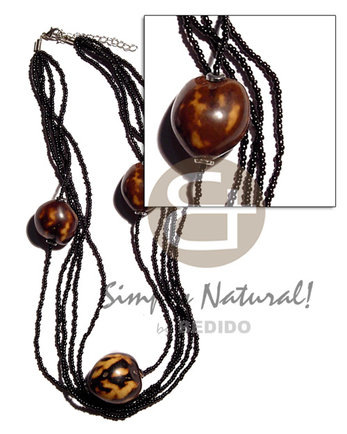 Brown tiger kukui nuts in Graduated Necklace