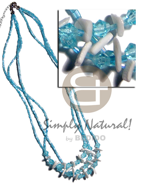 3 layers aqua blue glass Graduated Necklace