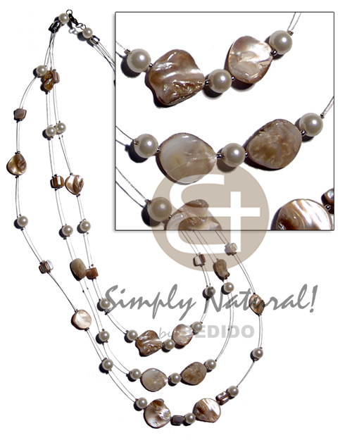 hand made Floating natural kabibe shell nuggets Graduated Necklace