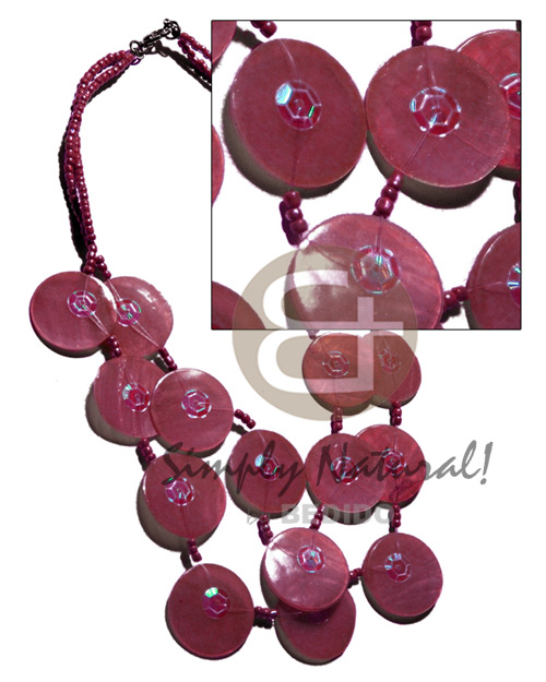 hand made 25mm old rose capiz shells Graduated Necklace
