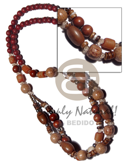 6mm maroon natural wood beads Graduated Necklace