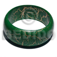 nat. wood bangle in green & gold metallic crackle painting ht=30mm thickness=8mm inner diameter=65mm - Hand Painted Bangles