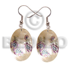 35mm oval hammershell floral Hand Painted Earrings