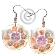 35mm round mop floral Hand Painted Earrings