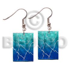 35mm x 25mm blue capiz Hand Painted Earrings