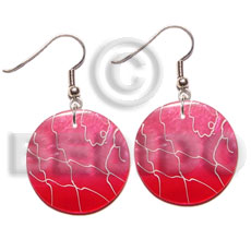 35mm round pink capiz 2 Hand Painted Earrings