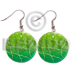 35mm round lime green Hand Painted Earrings