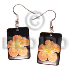 35mm x 25mm rectangular blacktab Hand Painted Earrings