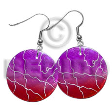 35mm round red violet capiz 2 Hand Painted Earrings