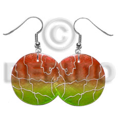 hand made 35mm round orange lime green capiz Hand Painted Earrings