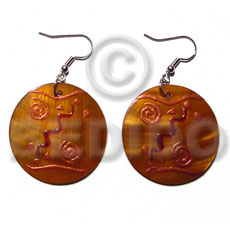 Dangling round 35mm kabibe shell Hand Painted Earrings