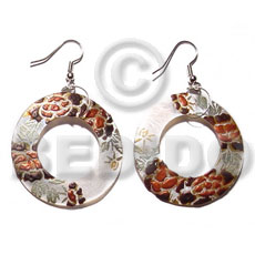 Dangling round 40mm hammershell Hand Painted Earrings