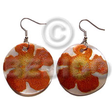 hand made Dangling 35mm round handpainted embossed hammershell Hand Painted Earrings