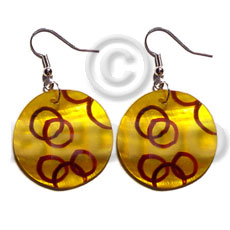 Dangling 35mm round kabibe shell Hand Painted Earrings
