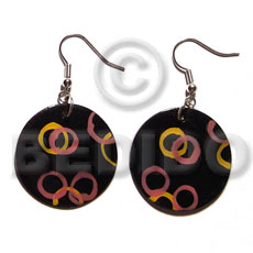 Dangling 35mm round blacktab shell Hand Painted Earrings