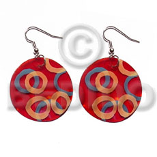 Dangling 35mm round red capiz Hand Painted Earrings