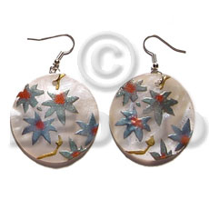 Dangling 35mm Round Handpainted Embossed Hammershell