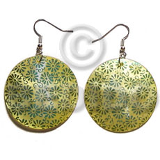 Dangling 35mm round handpainted embossed hammershell Hand Painted Earrings